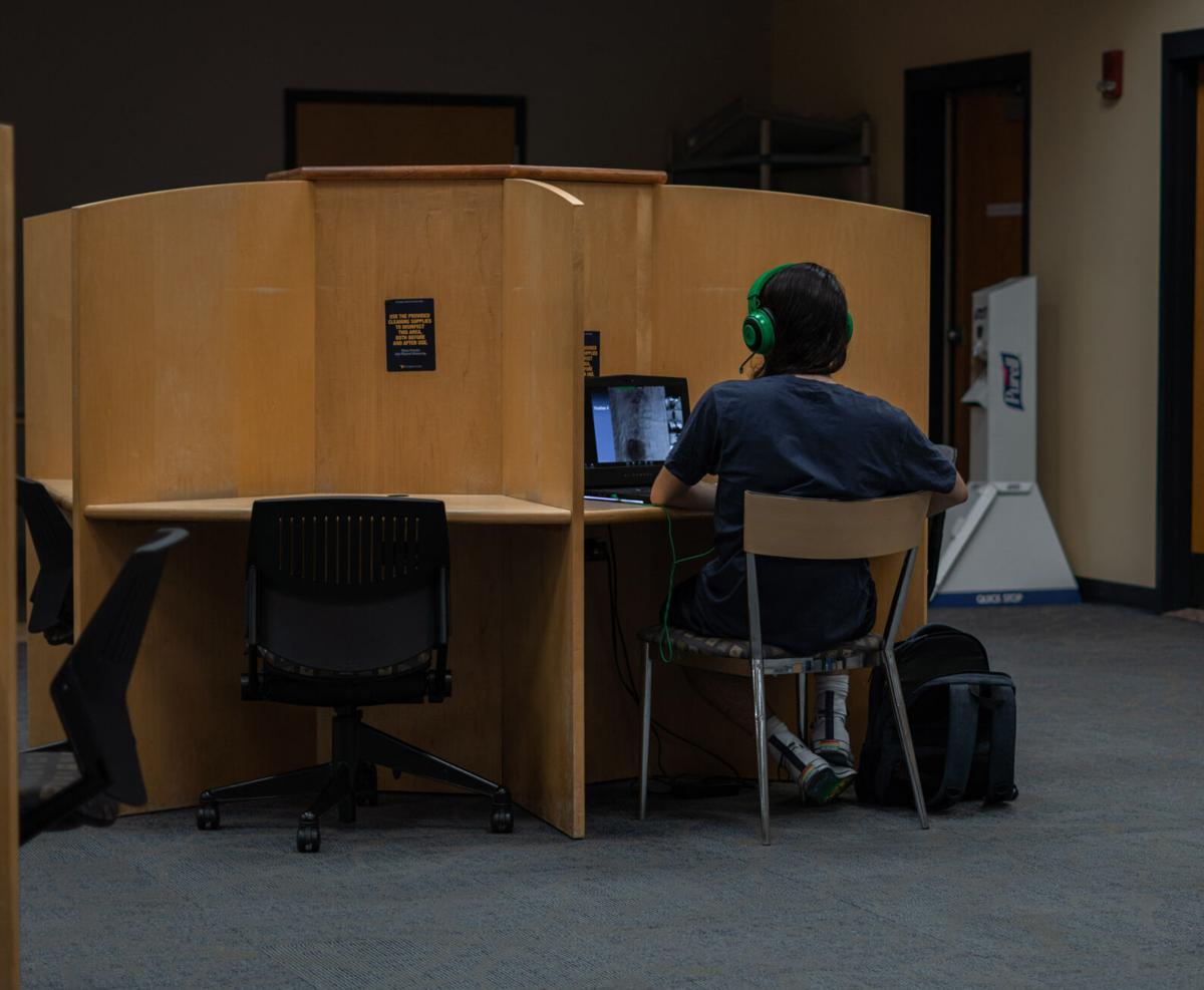 A student working on a laptop in the Evansdale library.
