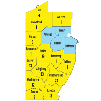 Positive cases by county