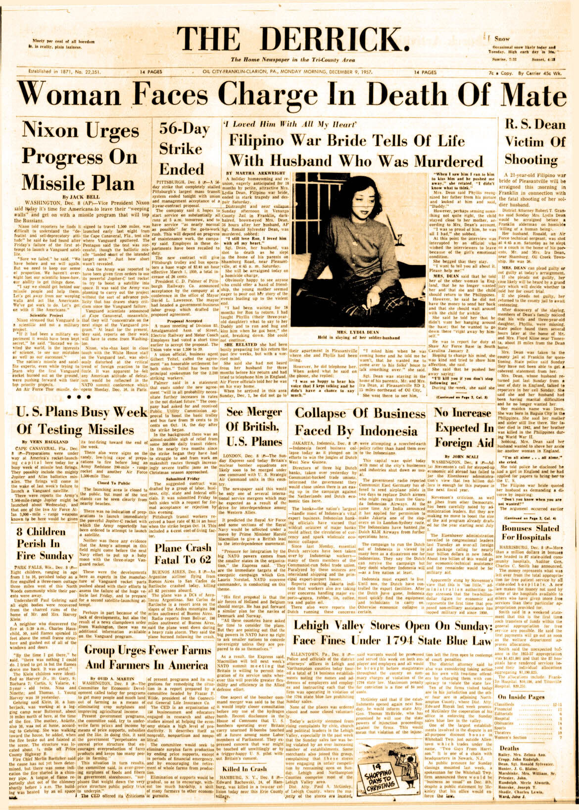 Lydia Dean 1957 front page