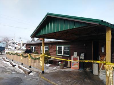 Interior of Log Cabin Restaurant 'burnt out'