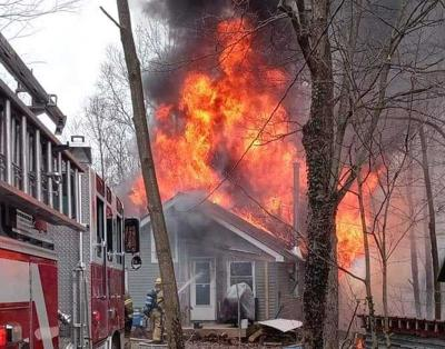 Fire destroys home in Victory Township