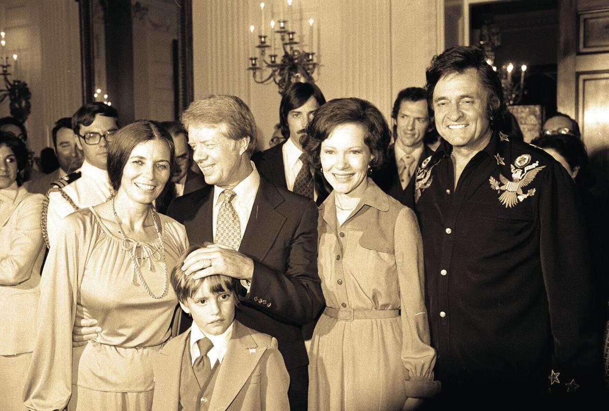 Johnny Cash visited DeBence Antique Music World in 1977