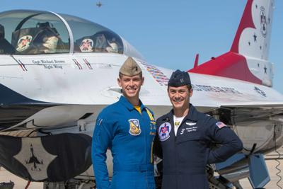 Thunderbirds visit the Blue Angels