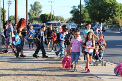 Brawley Students Get Pumped on Walk to School Day