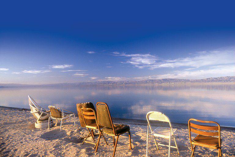 empty chairs at Salton Sea