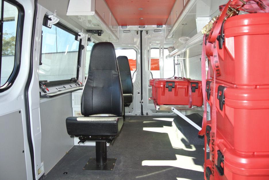 Red Cross emergency vehicle inside
