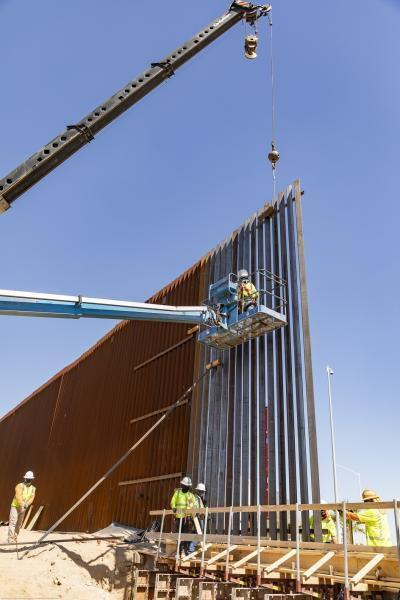 The first panels of the Calexico border wall project installed