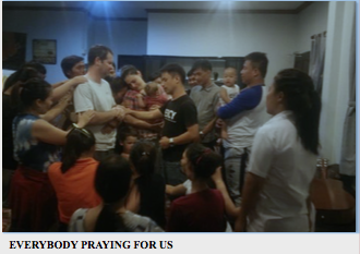 Jonathan's ministry group prays for the Hawk's next chapter back in the States