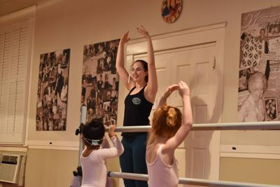 Susana Irigoyen teaching ballet to her young students