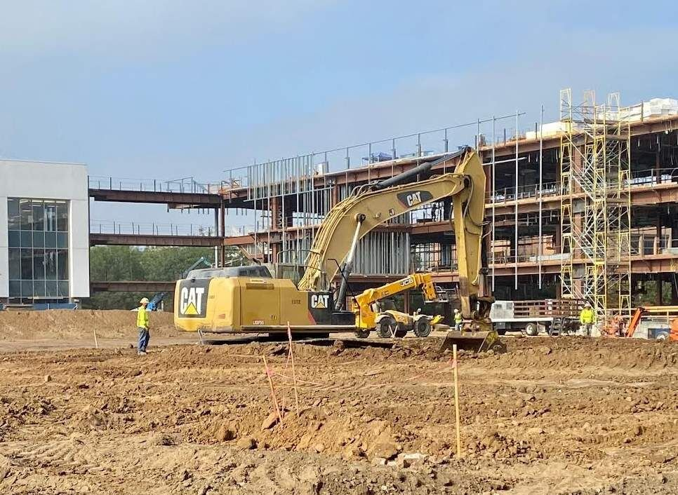 Construction crews working on  Roosevelt High administration building