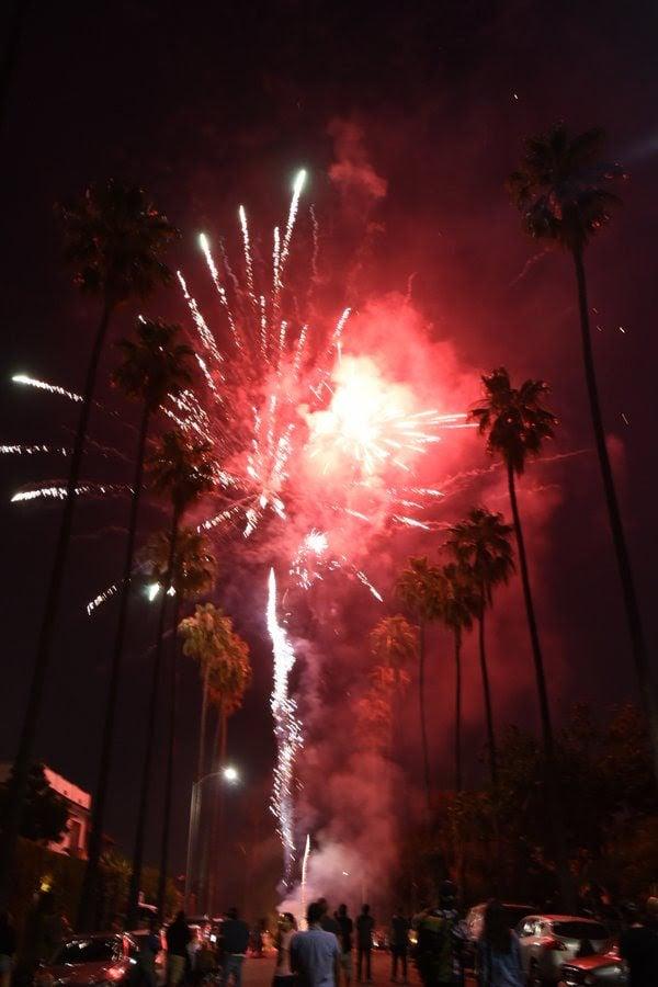 Fireworks on Laveta Terrace in Echo Park