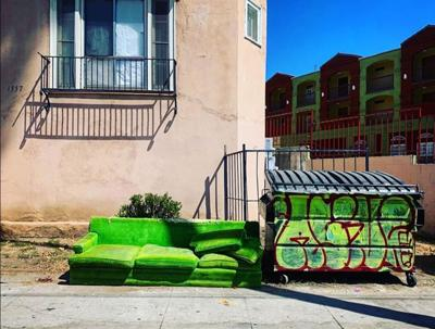 Echo Park couch and matching dumpster
