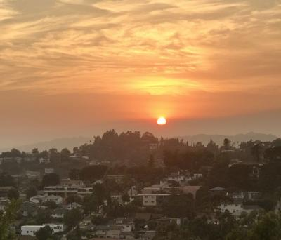 Smoke tinged sunset viewed from Elysian Heights