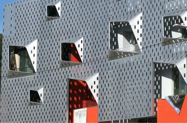 What looks like a giant cheese grater is Echo Park's newest apartment building
