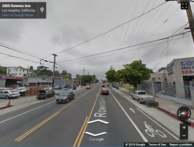 Google Map street view of the Rowena Road Diet in Silver Lake