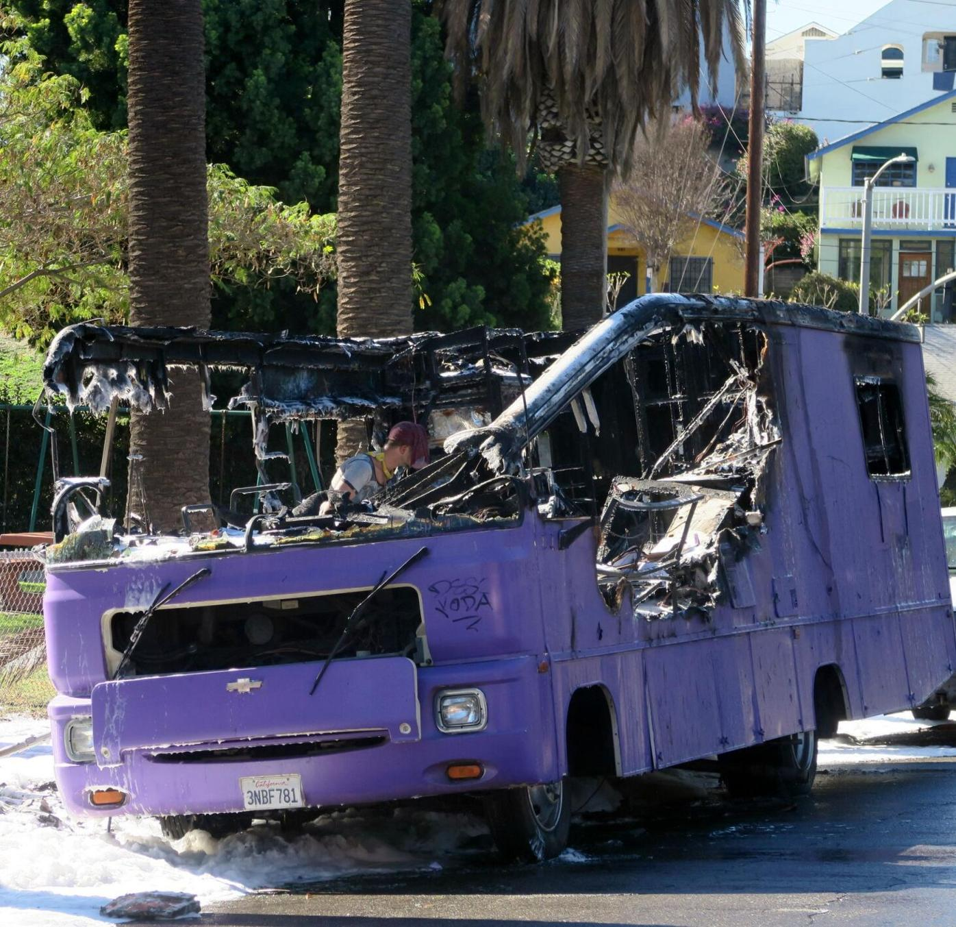 Burned wreckage of Echo Park purple bus