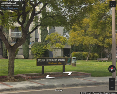 Google Street view of Budd Wiener Park