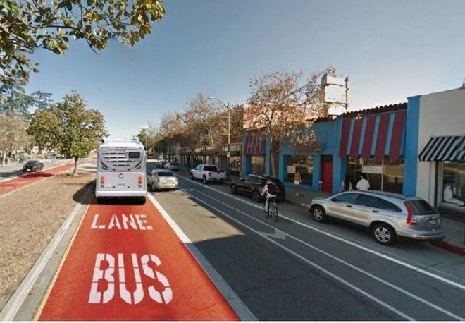 Rendering of a bus-only lane for a BRT line on Colorado Boulevard in Eagle Rock