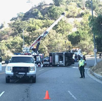 Food truck on its side in Elysian Park