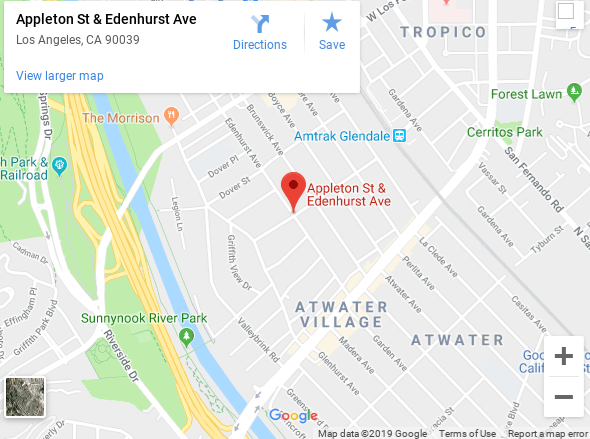 Google map of Edenhurst and Appleton in Atwater Village