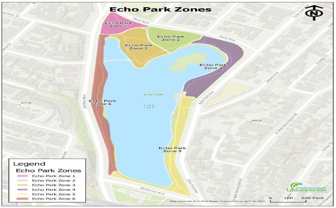 Echo Park Lake Trash Zones
