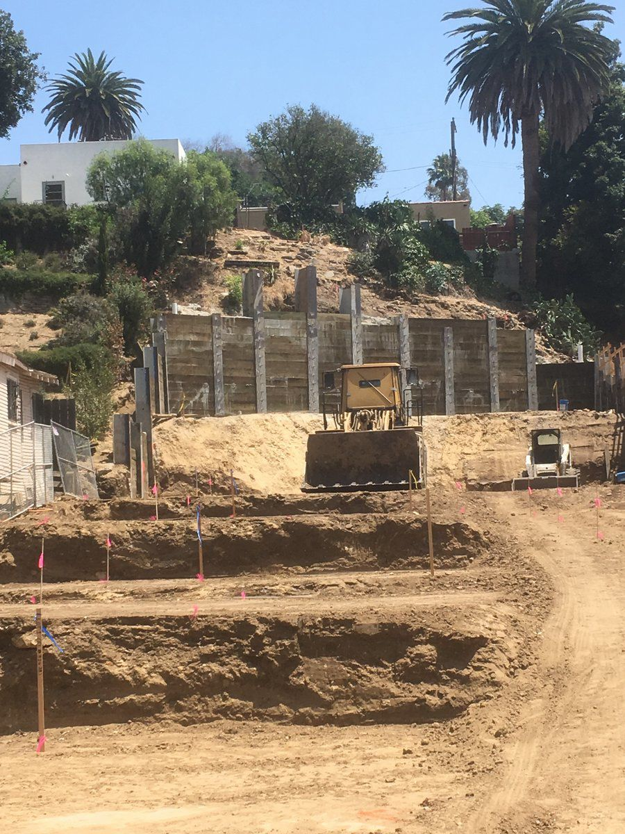 Grading underway at MORA construction site in Echo Park