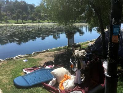 Tent and belongings at Echo Park Lake