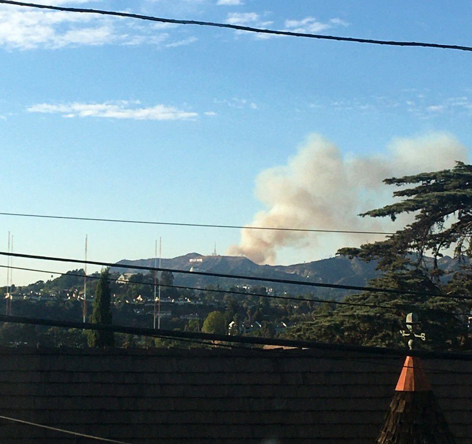 Smoke from Hollywood hills fire viewed from Echo Park