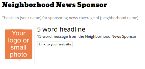 Neighborhood News Sponsor block
