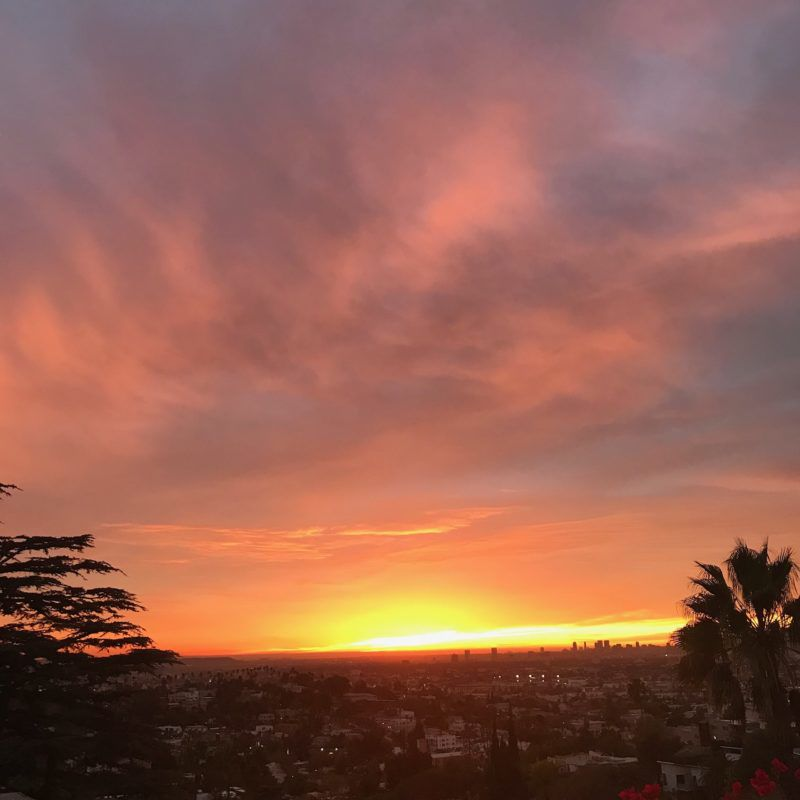 December sunset bathes  L.A. in shades pink