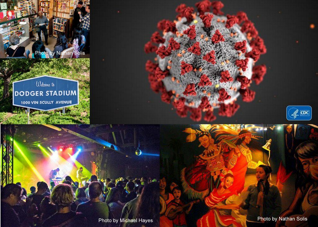 Coronavirus and entertainment collage