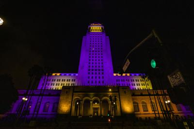 City Hall in Lakers purple and gold
