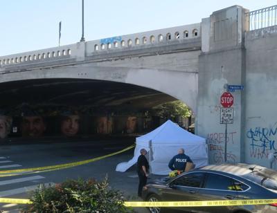 Crime scene at Sunset Boulevard overpass