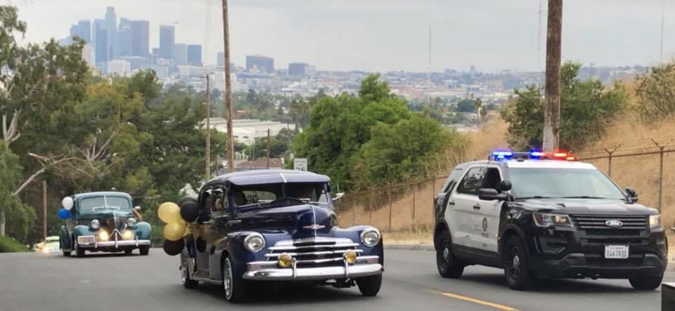 Old car and police car