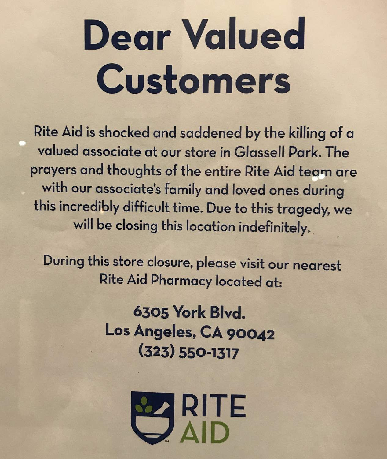 Glassell Park Rite Aid closed indefinitely sign