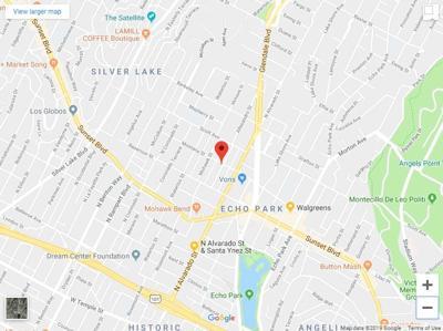 Map of Echo Park garage fire on Allesandro