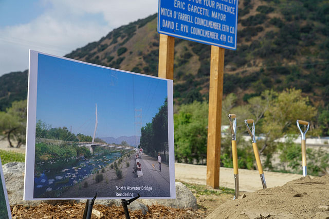 Groundbreaking held for a car-free L.A. River bridge