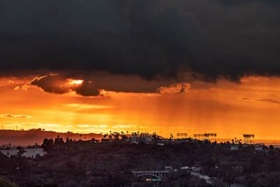 Sunset over Dodger Stadium