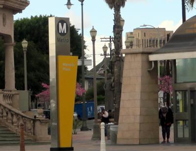 Metro sign at Mariachi Plaza