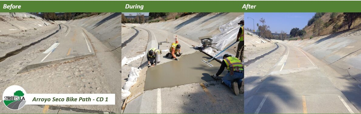 Arroyo Seco Bike Path repair - before, during and after