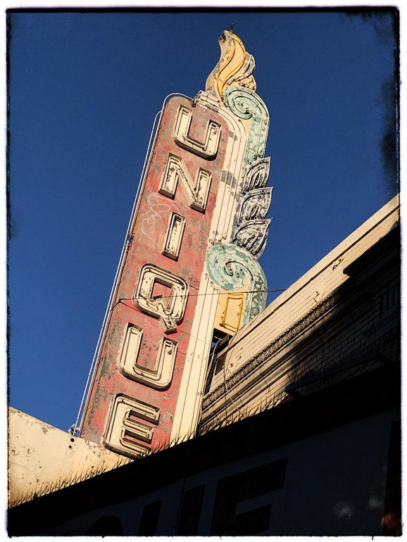 Where is this old theater sign located?