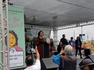 Dolores Huerta at dedication of Dolores Huerta Square in Boyle Heights
