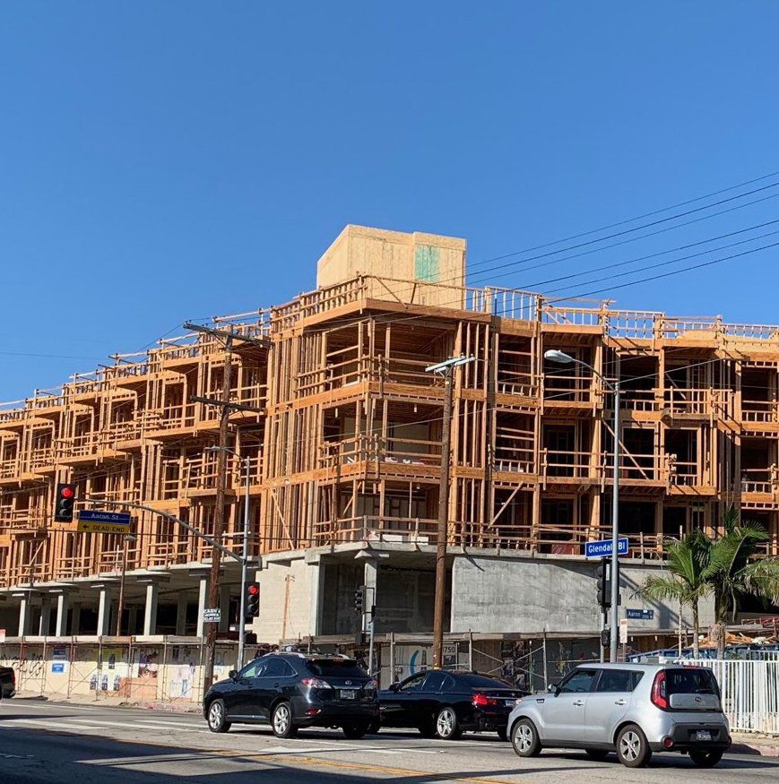 Apartments under construction at Glendale and Aaron in Echo Park