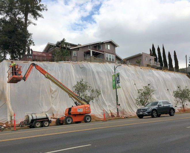 Giant retaining walls going up along Sunset Boulevard's crumbling slopes