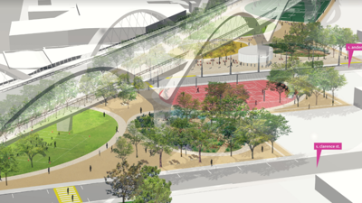 Rendering of one concept for the Boyle Heights end of the sixth street bridge park