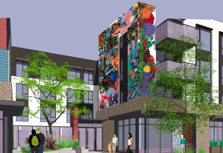 3rd & Dangler development with mural