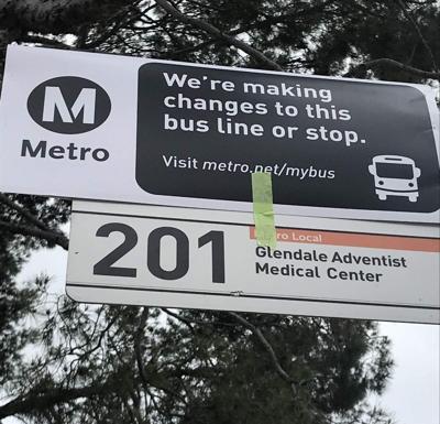 Metro Bus line 201 stop sign