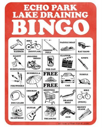 What will be found at the bottom of Echo Park Lake? A Bingo game offers some clues