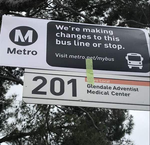 Metro Bus line 201 sign newsletter
