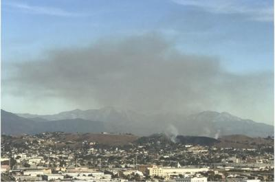 Smoke rises above El Sereno from December 2017 brush fire